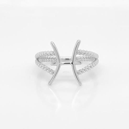 Pisces Zodiac Rope Ring in Solid White Gold