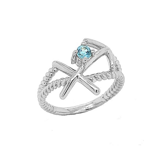 Sagittarius Zodiac Symbol & Blue Topaz Rope Ring in White Gold