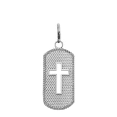 Sterling Silver Open Cross Dog Tag Pendant Necklace