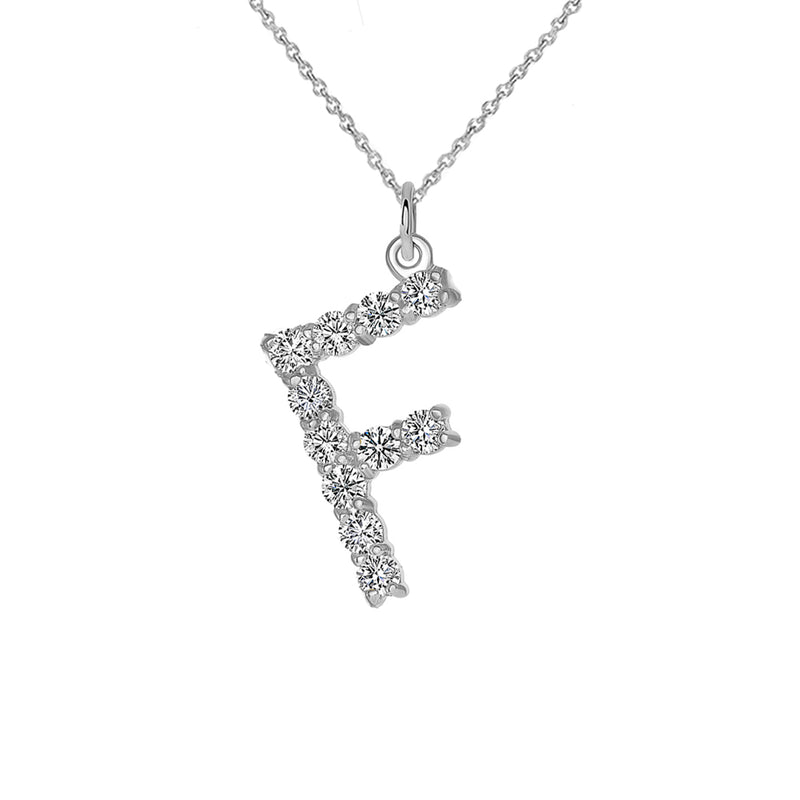 "Initial ""F"" CZ Letter Pendant/Necklace in Sterling Silver"