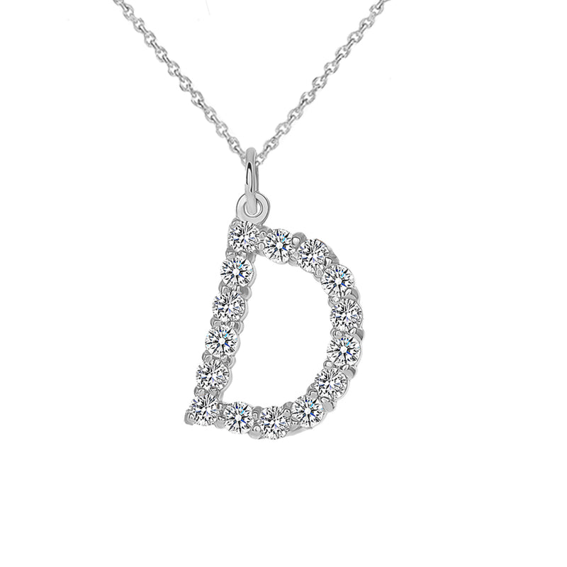 "Initial ""D"" CZ Letter Pendant/Necklace in Sterling Silver"