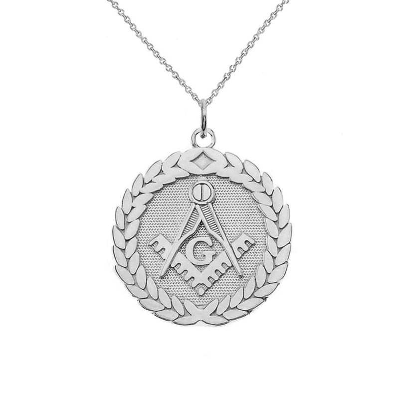 Sterling Silver Round Masonic Symbol Pendant Necklace