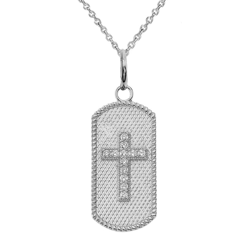 Sterling Silver CZ Cross Dog Tag Pendant Necklace