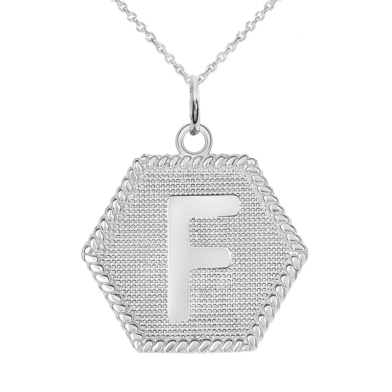 "Initial ""F"" Gold Medallion Pendant Necklace"