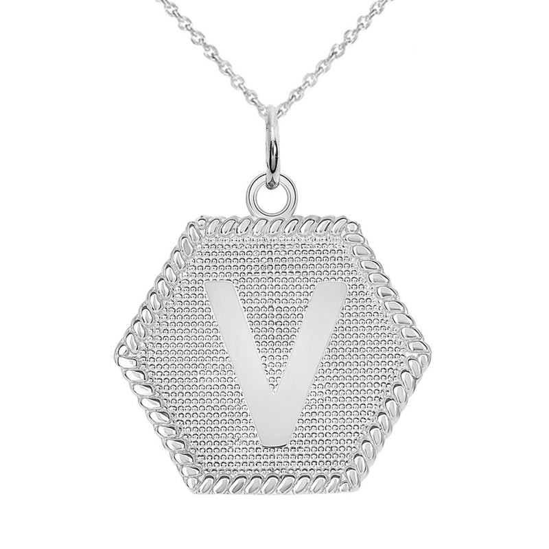 "Initial ""V "" Gold Medallion Pendant Necklace"