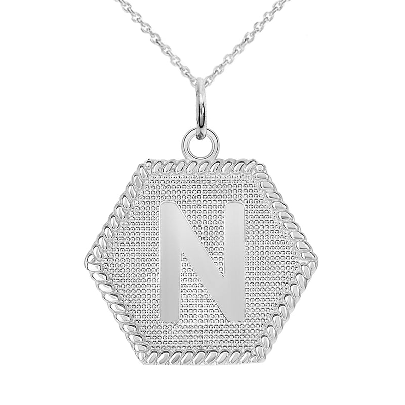 "Initial ""N"" Gold Medallion Pendant Necklace"