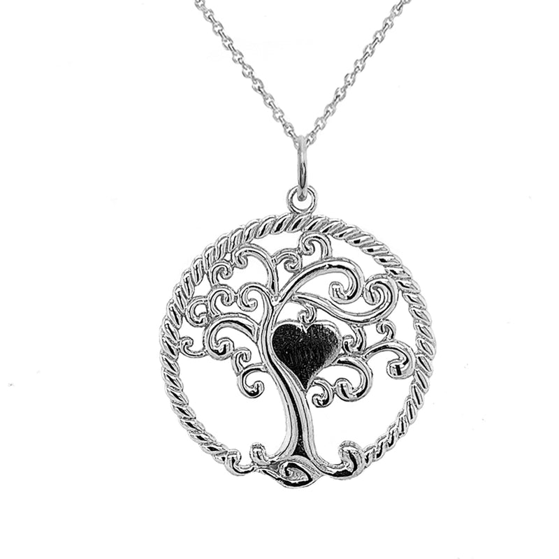 "Open ""Tree of Life"" Charm Pendant/Necklace in Sterling Silver"