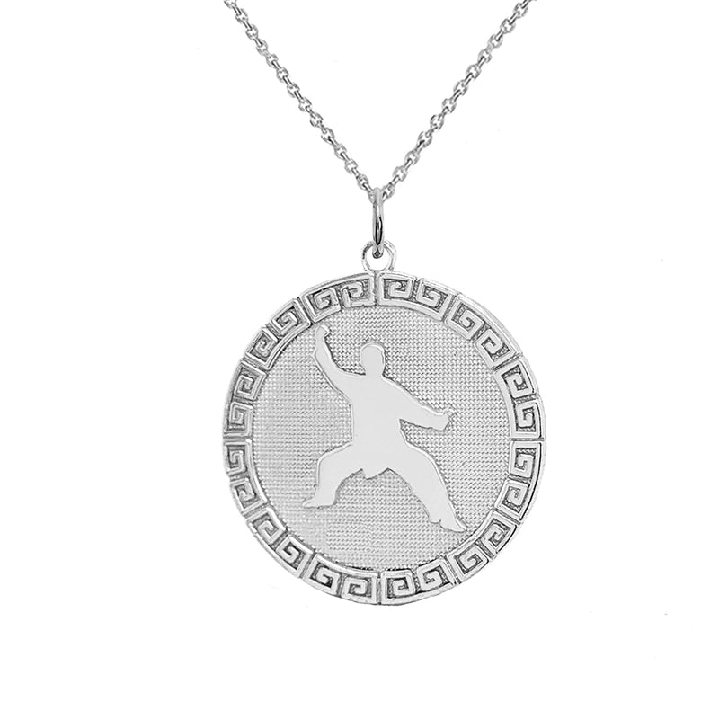 Personalized Round Karate Pendant/Necklace in Sterling Silver