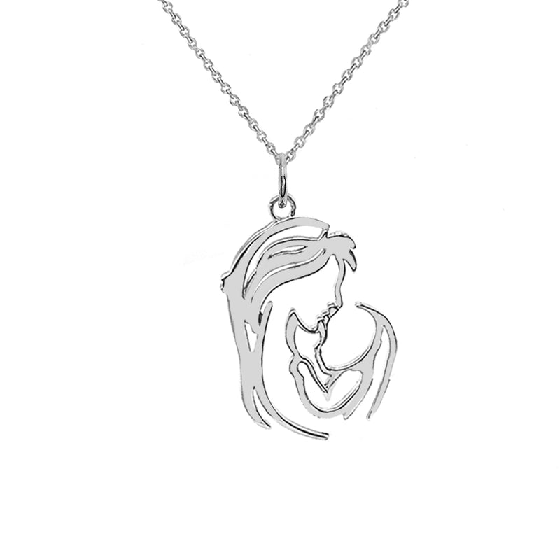 """Mother and Child"" Outline Pendant/Necklace in Sterling Silver"