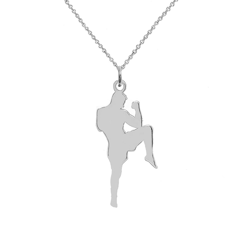Personalized Karate Sports/Martial Arts Pendant Necklace in Sterling Silver