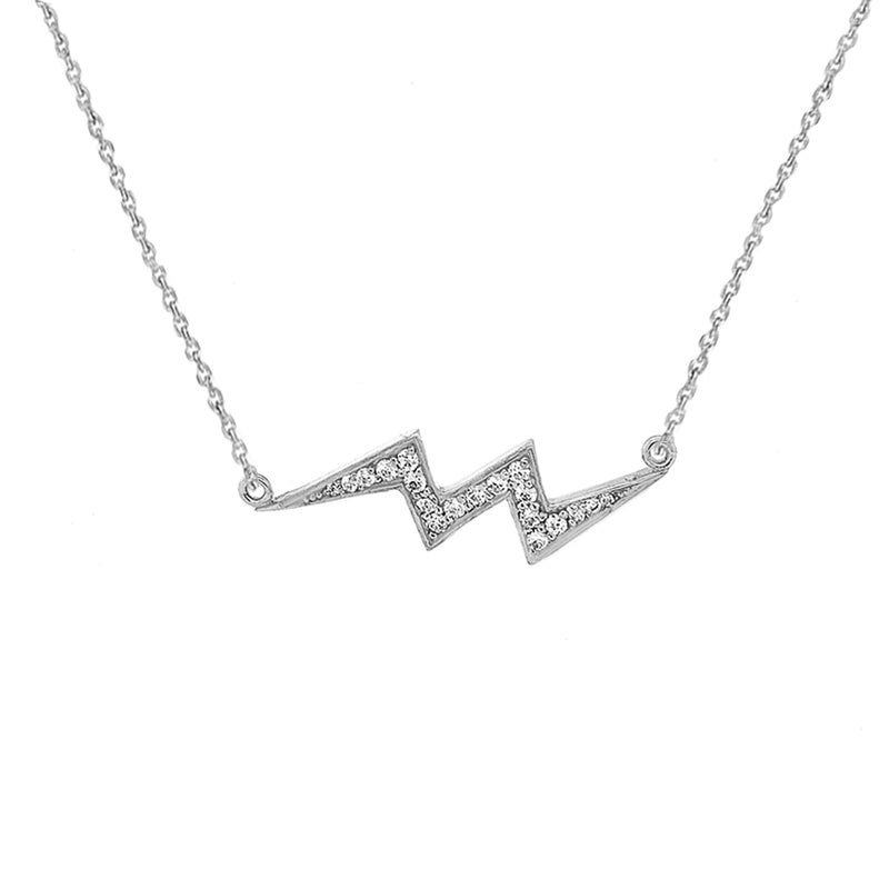CZ-Studded Lightning Necklace in Solid Gold