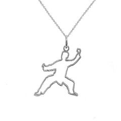 Personalized Karate Outline Pendant/Necklace in Sterling Silver