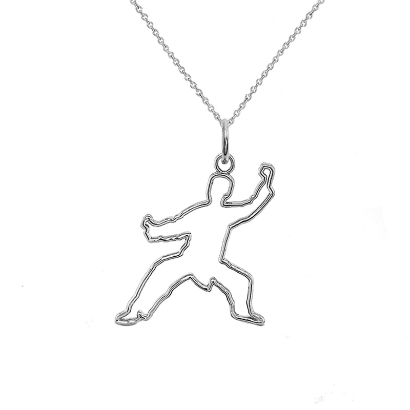Personalized Karate Outline Pendant/Necklace in Solid Gold
