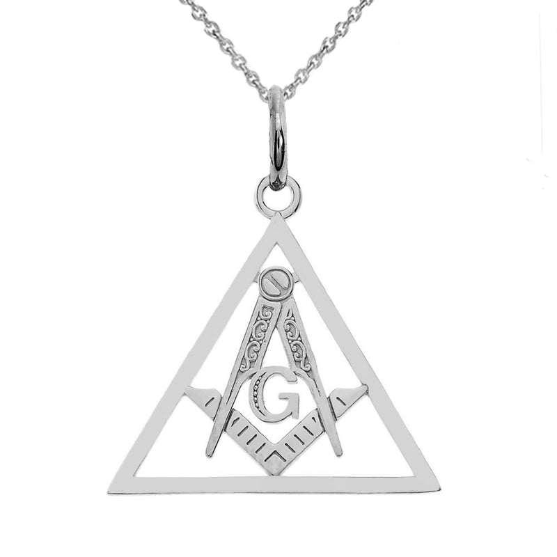 Gold Triangle Open Masonic Symbol Pendant Necklace in Solid Gold(Yellow/Rose/White)