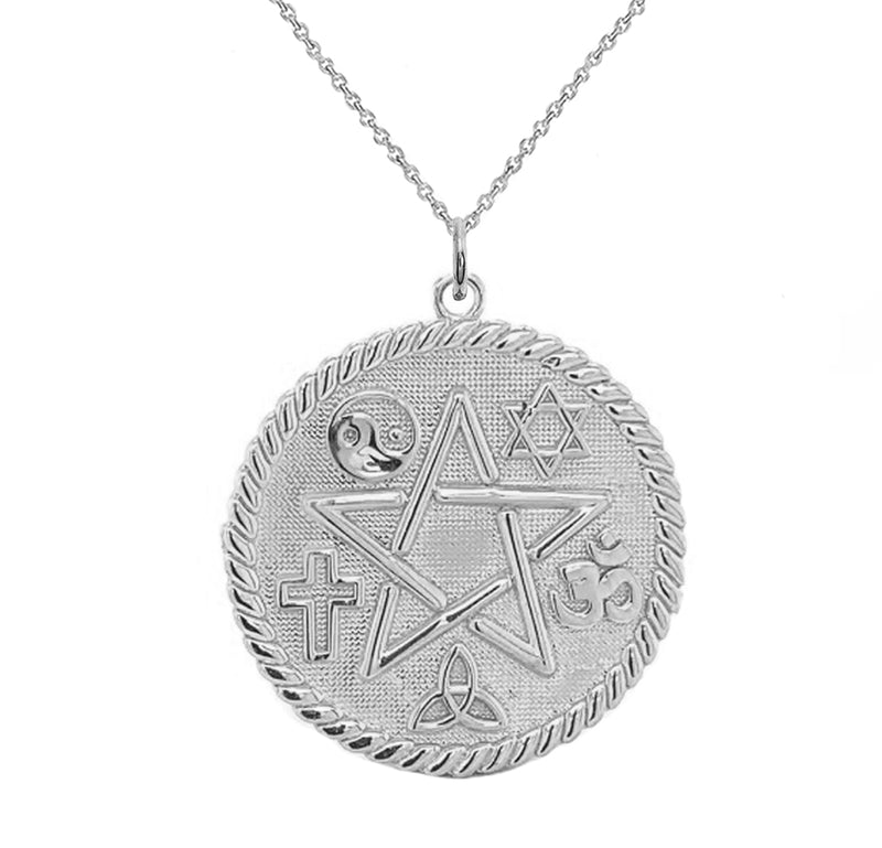 Pentagram and Multiple Religious Symbols Pendant/Necklace in Sterling Silver