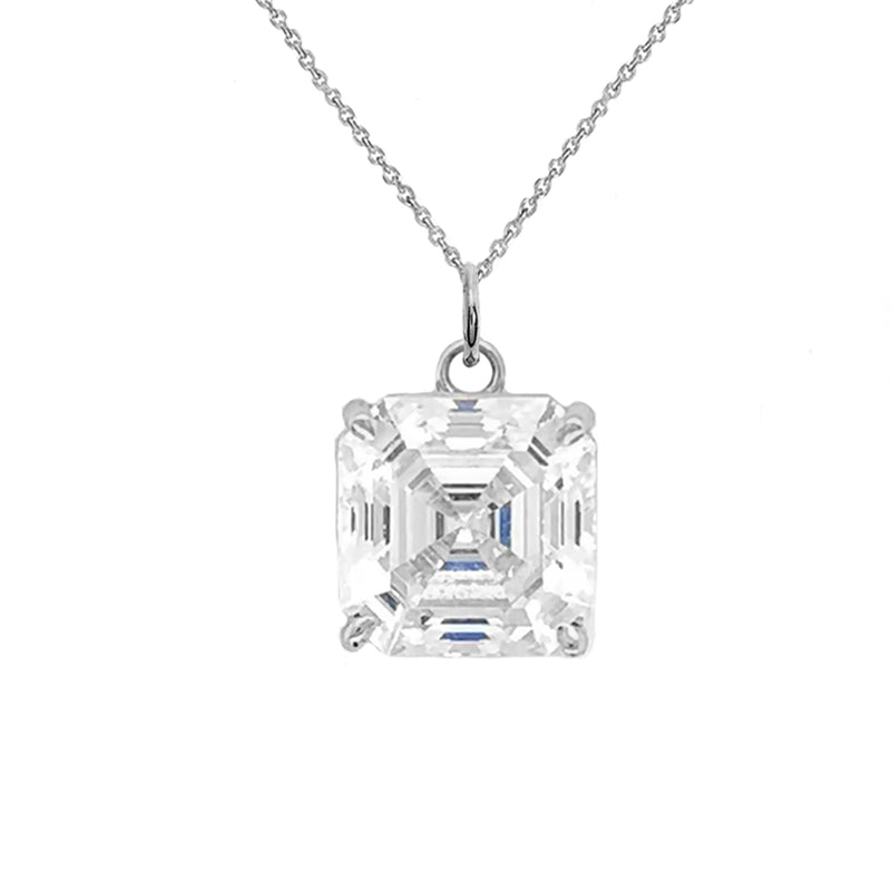 Solitaire Asscher-Cut CZ Pendant Necklace in Sterling Silver (Large)