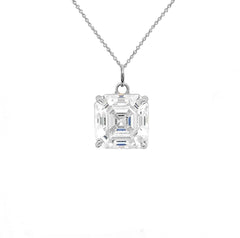 Asscher-cut 4 mm CZ Stone Statement Pendant Necklace in Silver