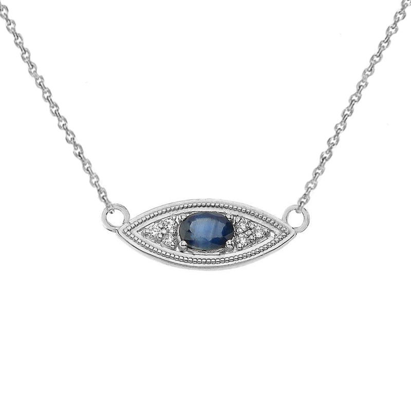 Sapphire & Diamond Evil Eye Necklace in Solid Gold