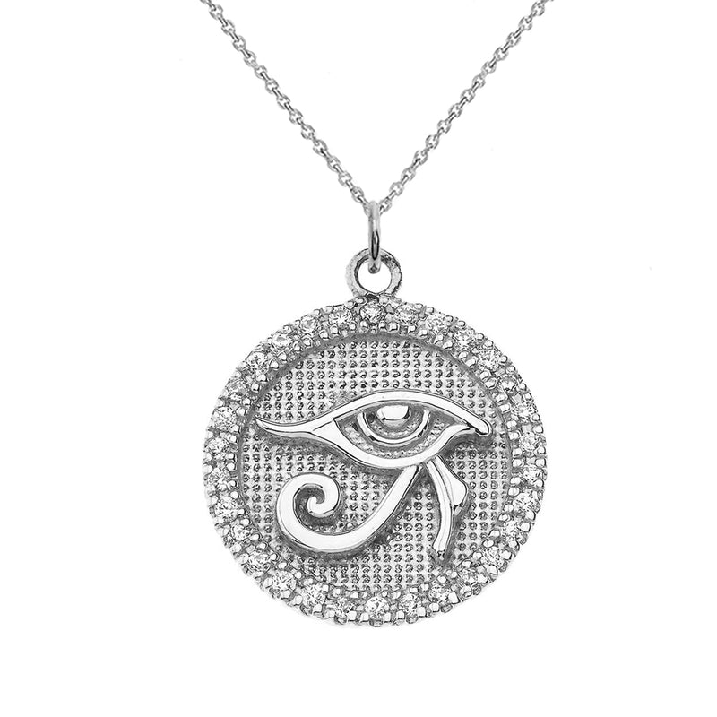 Eye of Horus Disc Pendant Necklace in Sterling Silver