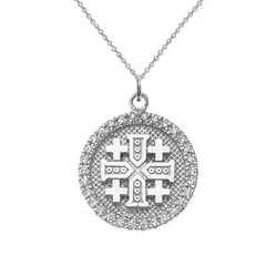 Jerusalem/Crusaders Cross Disc Pendant Necklace in Sterling Silver