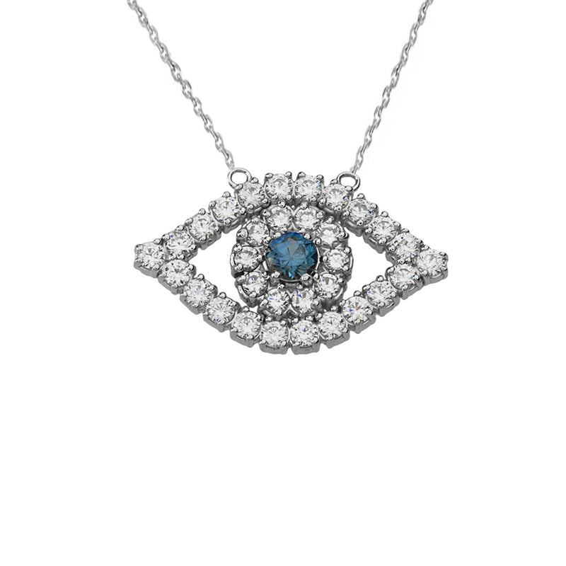 Evil Eye Diamond Necklace In Solid Gold
