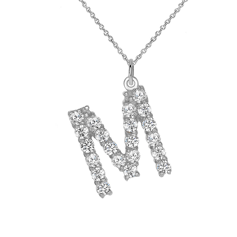 "Initial ""M"" CZ Letter Pendant/Necklace in Sterling Silver"