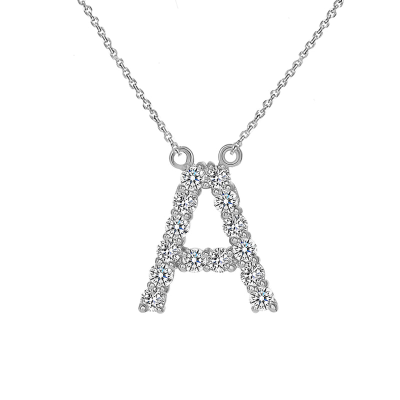 "Initial ""A"" CZ Letter Necklace in Sterling Silver"