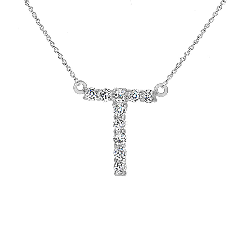 "Initial ""T"" CZ Letter Necklace in Solid Gold"