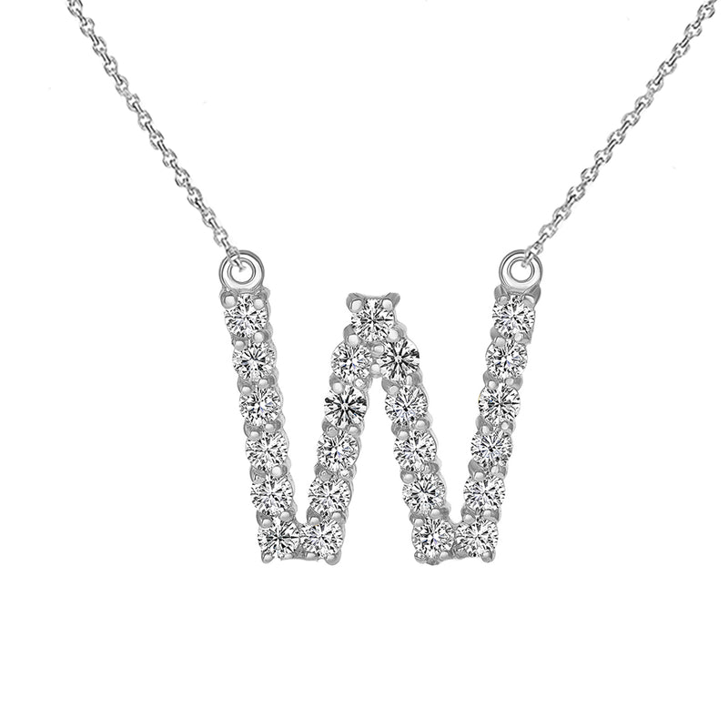"Initial ""W"" Diamond Letter Necklace in Solid Gold"