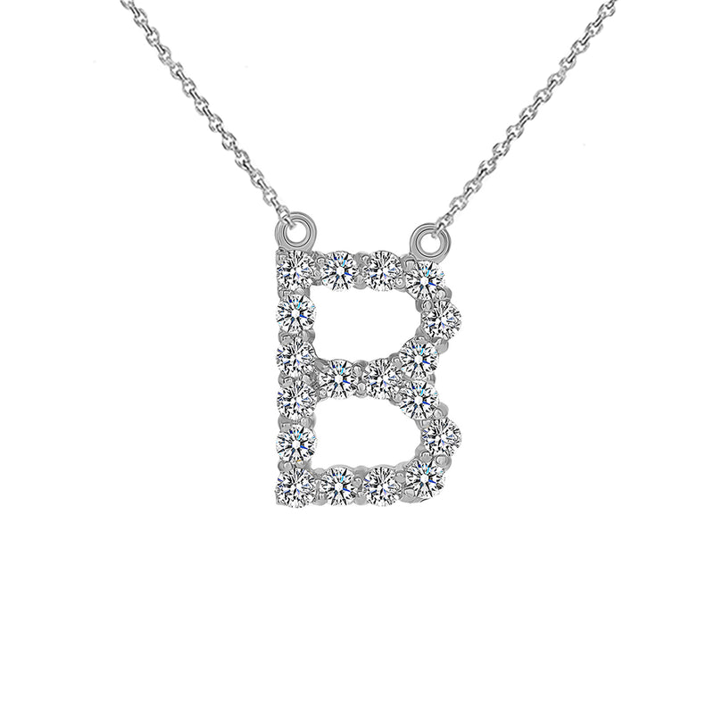 "Initial ""B"" CZ Letter Necklace in Sterling Silver"