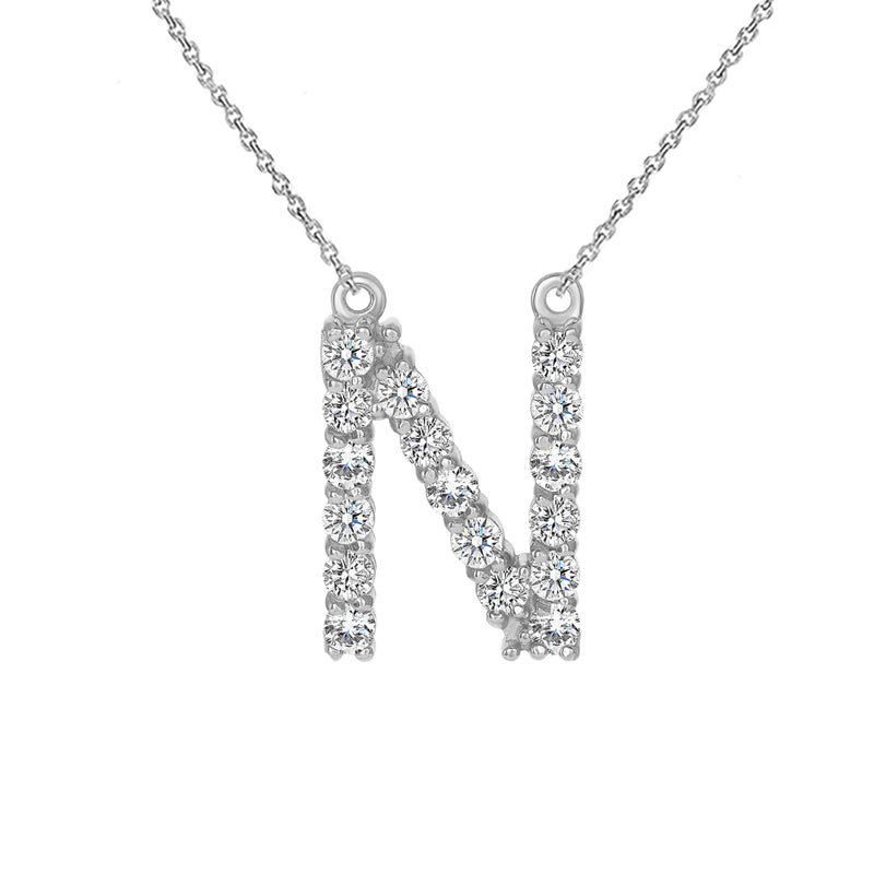 "Initial ""N"" CZ Letter Necklace in Sterling Silver"