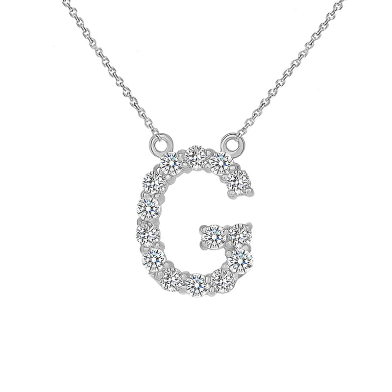 "Initial ""G"" Diamond Letter Necklace in Solid Gold"