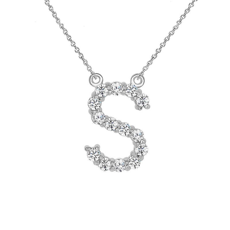 "Initial ""S"" CZ Letter Necklace in Solid Gold"