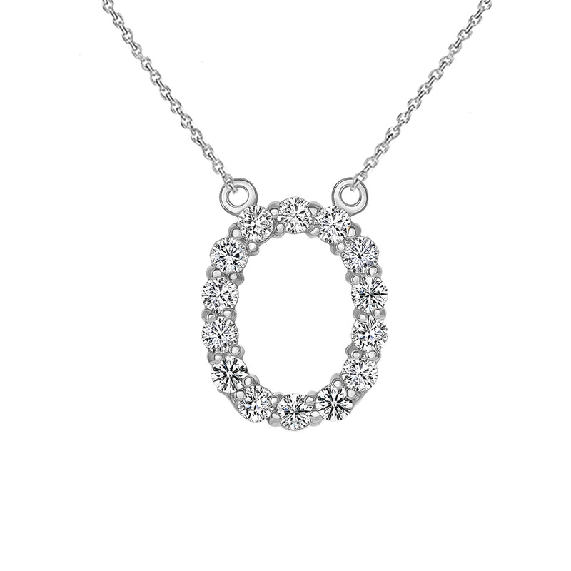 "Initial ""O"" CZ Letter Necklace in Sterling Silver"