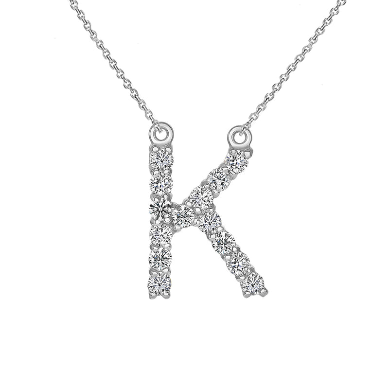 "Initial ""K"" CZ Letter Necklace in Sterling Silver"