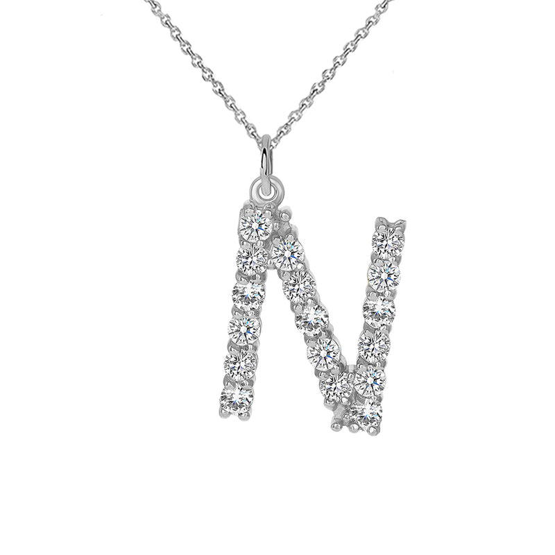 "Initial ""N"" CZ Letter Pendant/Necklace in Sterling Silver"