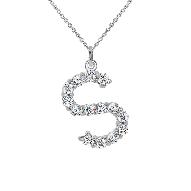 "Initial ""S"" Diamond Letter Pendant/Necklace in Solid Gold"