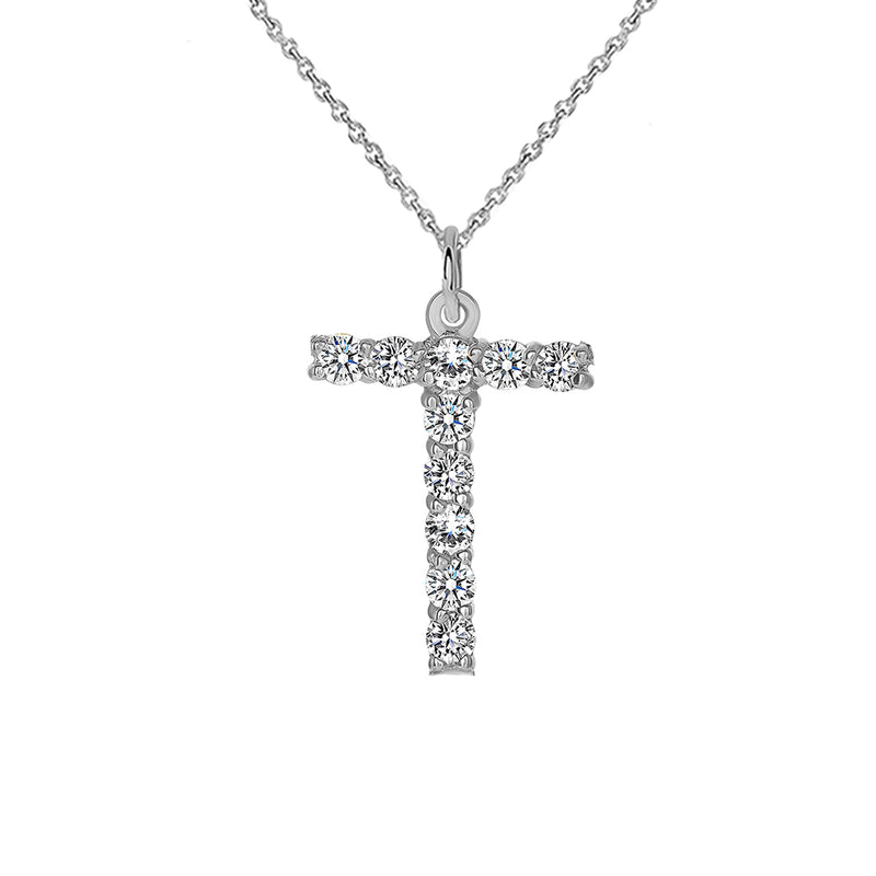 "Initial ""T"" CZ Letter Pendant/Necklace in Sterling Silver"