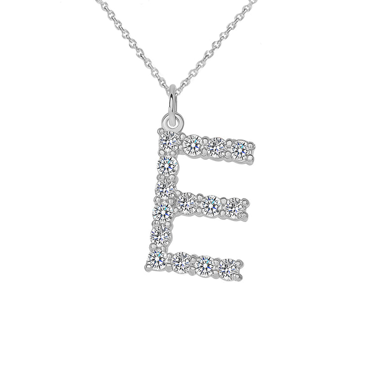 "Initial ""E"" CZ Letter Pendant/Necklace in Sterling Silver"