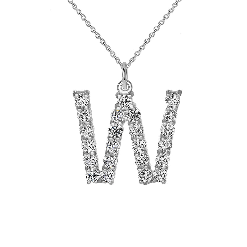 "Initial ""W"" CZ Letter Pendant/Necklace in Sterling Silver"