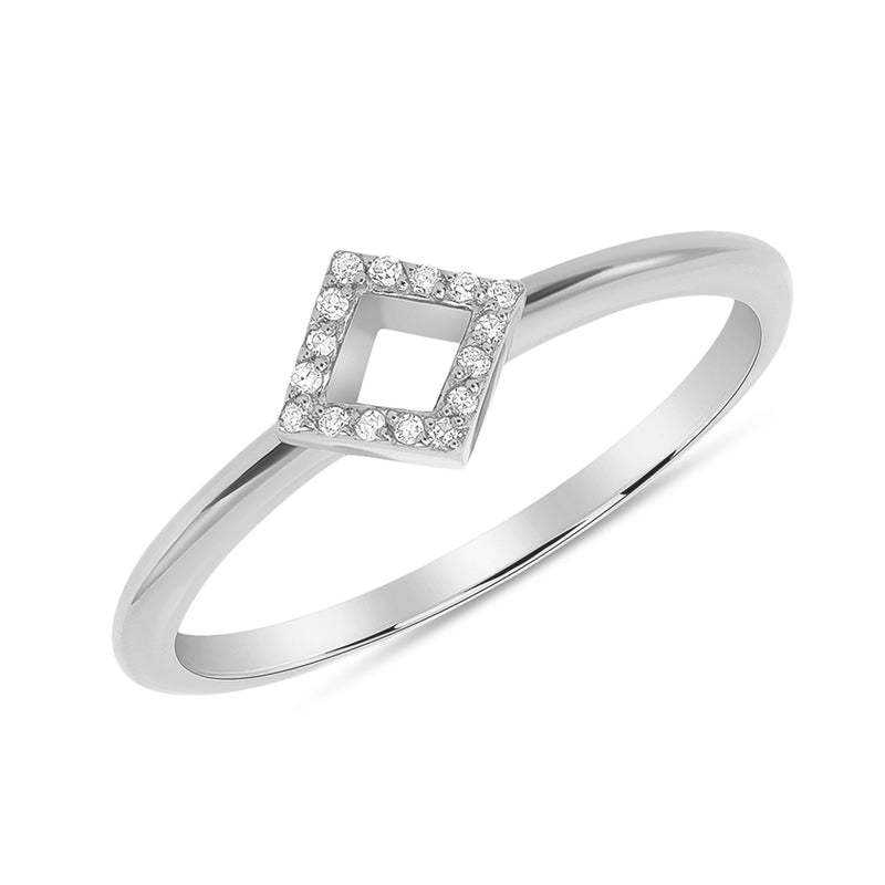 Dainty Modern Diamond Open Square-cut Ring in Solid Gold