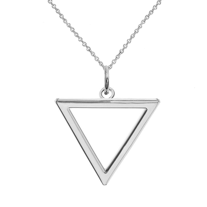 Open Triangle Outline Charm Pendant Necklace In Sterling Silver