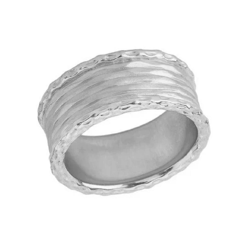 Unique Textured Statement Band Ring in Solid White Gold