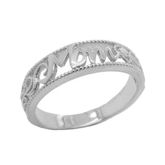 Filigree Diamond 'MOM' Ring in Sterling Silver