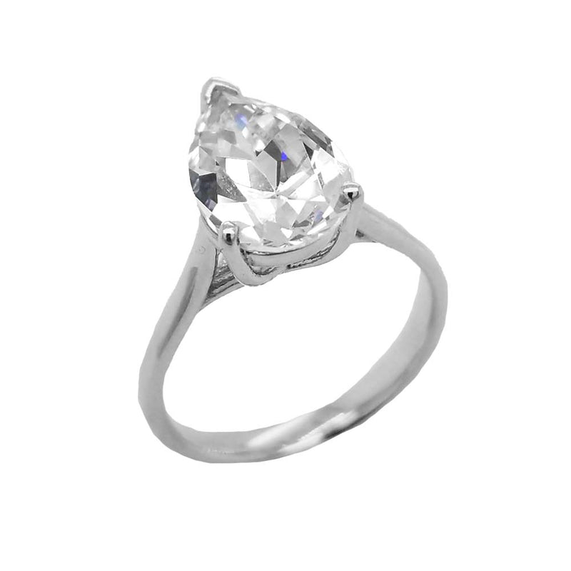 Solitaire Pear-shaped CZ Statement Ring In Solid Gold