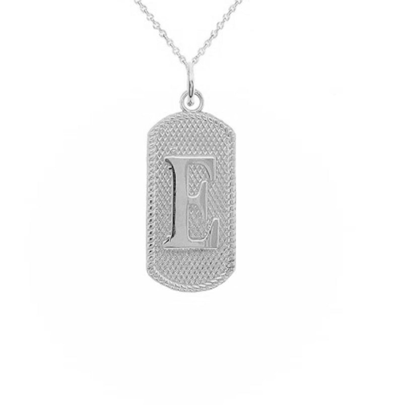"Initial Letter ""E"" Dog Tag Pendant Necklace in Sterling Silver"