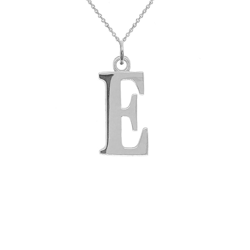 "Letter ""E"" Initial Pendant Necklace in Sterling Silver"