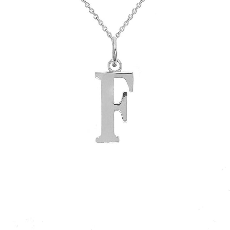 "Letter ""F"" Initial Pendant Necklace in Solid Sterling Silver"