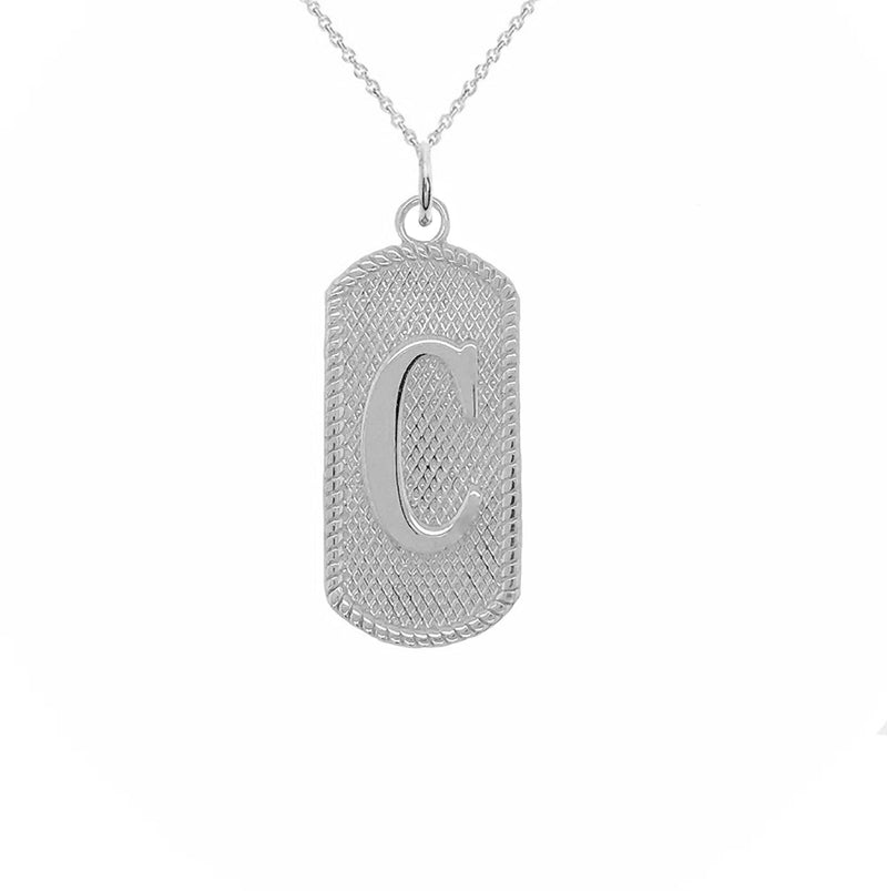"Solid Letter ""C"" Dog Tag Pendant Necklace in Sterling Silver"