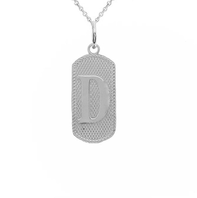 "Solid Letter ""D"" Dog Tag Pendant Necklace in Sterling Silver"